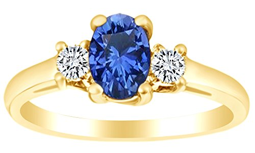 (AFFY Oval Cut Simulated Blue Sapphire & White Sapphire Three Stone Ring in 10k Yellow Gold Ring Size-4.5)