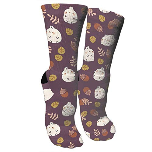 Knee High Graduated Compression Socks Athletic Tube Stockings - Rabbits and Pinecones Pattern ()