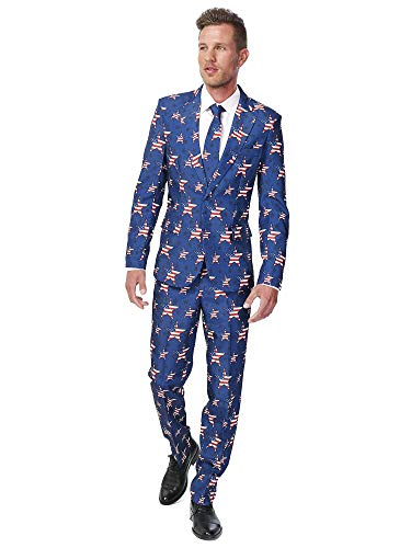 Suitmeister Patriotic Flag Suits Outfit Colors,X Large,Stars and Stripes -