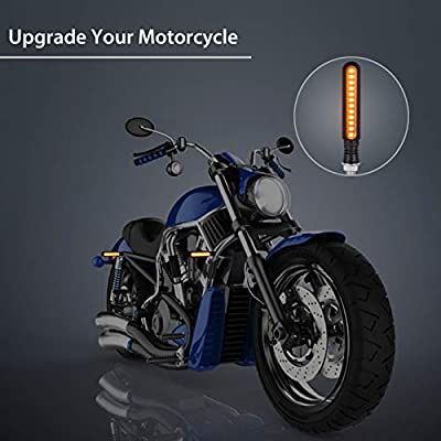 Justech 4pcs Flowing Motorbike Turn Signal Lights Flashing Turning Indicators for Motorcycle Scooter Quad Cruiser Harley Kawasaki Yamaha Suzuki Off Road (Amber-B): Home & Kitchen