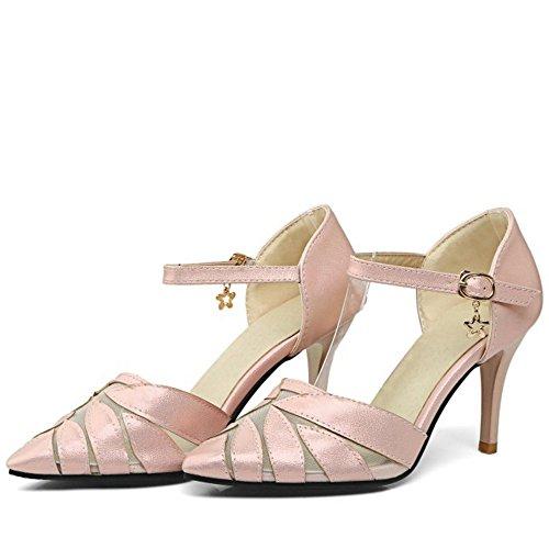 COOLCEPT Mujer Clasico Puntiagudo Tacon alto delgado Sandalias Fiesta Vestir Zapatos Rosado