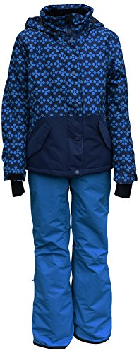 Pulse Big Girls Youth 2 Piece Ski Snowsuit Stardust (Large (14/16), Turquoise/Navy) by Pulse