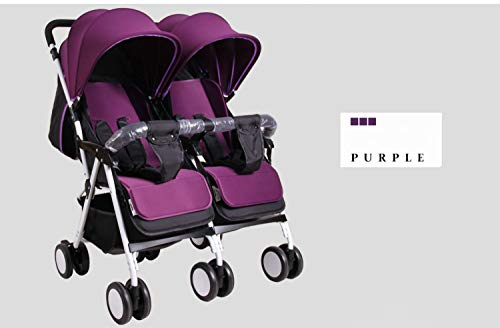 Curve Tandem Double Stroller for Infants, Toddlers or Twins – 360° Turning and Easy Handling Over Curbs, Multiple Seating Options, UPF50+ Canopies, Graphite Gray (Color : Purple)