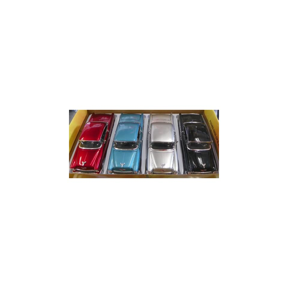 Jada Toys 1/24 Scale Diecast Big Time Kustoms 1955 Chevy Bel Air BOX of 4 Colors This CAR Comes in YOU GET Silver,blue,black,red
