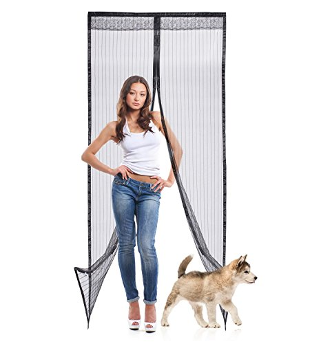 "Velcro Magnetic Screen Door Mesh by Astorn. Magnetic Bug Screen Protector 36"" x 83"". Retractable Full Frame Velcro Fly Screen – Black Patio Screen Door Frame"