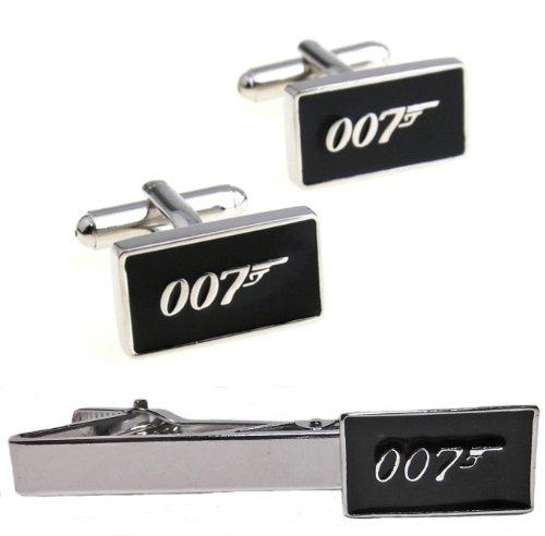 007 Costumes Accessories - JAMES BOND 007 Silvertone/Black Enamel CUFFLINKS
