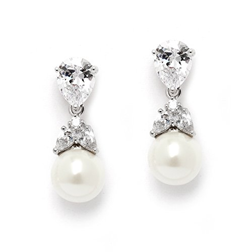 Mariell Platinum Pear Shaped Wedding Earrings product image