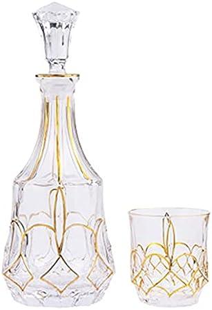 Conjunto de Decantores de Whisky Conjunto de 6 vidrieras y decantadores de Whisky  Whisky Glass Sets Carafe & Decanter Uso Diario (Color : Gold, Size : 7 Piece Set)