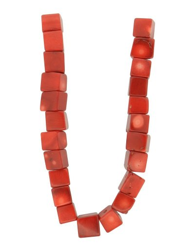 Tennessee Crafts 1294 Coral Red Bamboo Coral Cube Beads, 10mm
