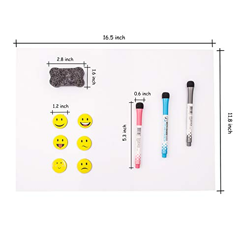 Prefer Green Magnetic Dry Eraser Board, Kitchen Refrigerator Calendar Whiteboard with Stain Resistant Technology, 17