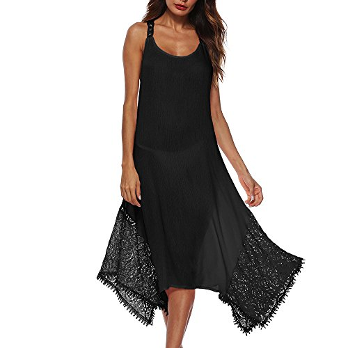 Women's Dress Summer Spaghetti Strap Sundress Casual Floral Midi Backless Button Up Swing Dresses with Pockets ()