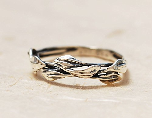 Handmade Sterling Silver Minimalist Nature Inspired Olive Leaf Branch Wedding Purity Promise Mothers Band Ring For Her Women ()
