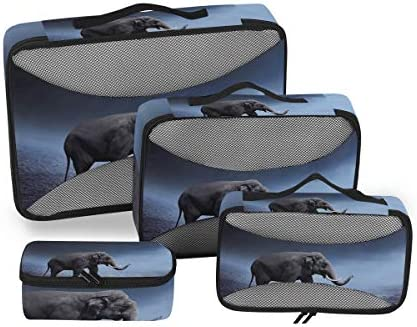 象の砂漠アート荷物パッキングキューブオーガナイザートイレタリーランドリーストレージバッグポーチパックキューブ4さまざまなサイズセットトラベルキッズレディース