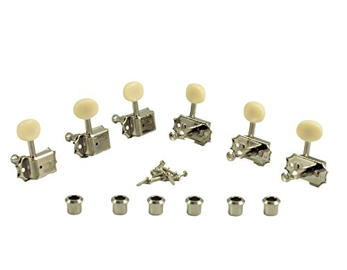 Kluson SD9005MNP Plastic Button Tuners, 3 Per Side, Gibson Style, Nickel/White by Kluson (Image #1)