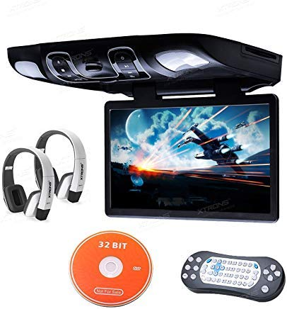 XTRONS 15.6 inch HD Digital Widescreen Car Overhead Coach Caravan Roof Flip Down DVD Player Game Disc White New Version IR Headphones Included