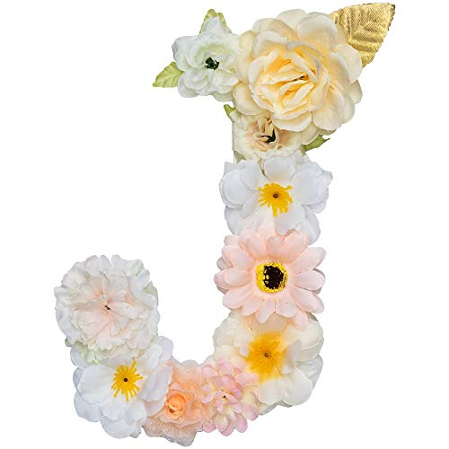 Artificial Champagne Floral Decorative Letters, 7.9