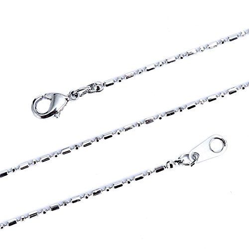 Faceted Cylinder (BRCbeads 28 Inches Immitation Rhodium Plated 1.5mm Faceted Cylinder BallChain Necklace With Lobster Claw Clasp 10pcs per Bag for Jewelry Making)