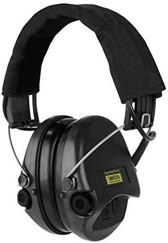 Sordin Supreme PRO X, Noise Reduction Active Safety Ear Muffs, Adjustable Hearing Protection for Shooting, Hunting, Work, Black Canvas Headband and Cups