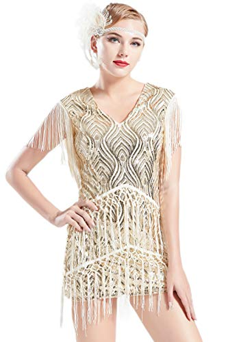 BABEYOND 1920s Flapper Dress Long Fringed Gatsby Dress Roaring 20s Sequins Beaded Dress Vintage Art Deco Dress (Beige, -