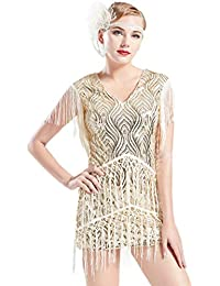 1920s Flapper Dress Long Fringed Gatsby Dress Roaring 20s...