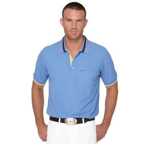 Callaway Golf Men's Chev Pocket Polo (Marine Blue, Large)