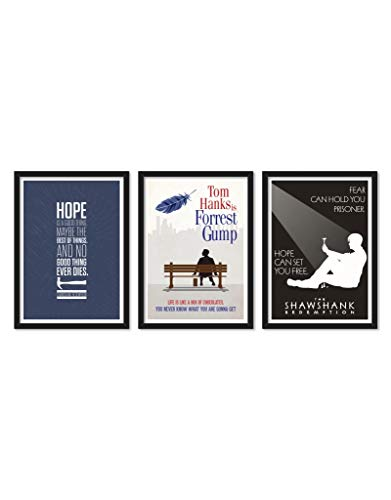 LAB NO 4 Set of Three The Shawshank Redemption Forrest Gump Movie Quote Framed Poster (Paper, 11