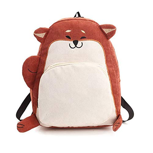 Cute Cartoon Animal Embroidered BackpackLarge-Capacity Corduroy Bag Girls Shoulder Bag Spring Outdoor Travel Best Gifts