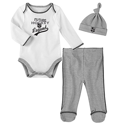 NHL Los Angeles Kings Children Unisex Future Legend Onesie, Pant & Hat Set, 0-3 Months, White