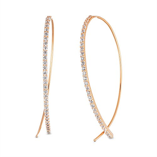 Lesa Michele Womens Cubic Zirconia Curved Bar Pull Through Earring in Rose Gold over Sterling Silver