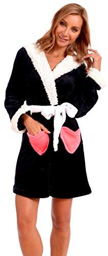 Body Candy Women's Plush Sherpa Micro Fleece Animal Ear Hooded Bathrobe