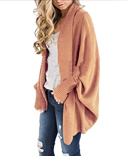 Mogogo Women's Fall Winter Open Front Knitted Plus-Size Casual Top Coat Pink