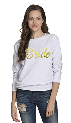PINJIA Womens Bride Bachelorette Sweatshirts Long Sleeve Shirt (Sweater S,White Bride)