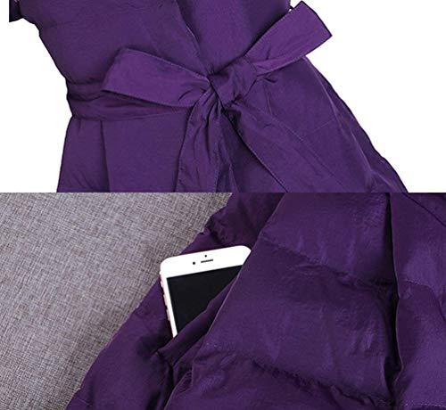 Chemine Stepp Femme Longues Hiver Parka Coat Elgante Young Styles Manches Longues Fashion Revers Warm paissir Couleur Unie Quilting Blouson Hiver Manteau avec Ceinture Violet