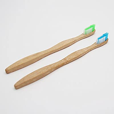 SoniFox 2Pcs Bamboo Toothbrush for Adult Eco-Friendly biodegradable Bamboo Handles and BPA-Free Nylon Bristles For Natural Dental Green and Blue Color