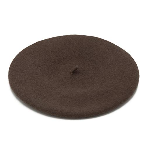 Wheebo Wool Beret Hat,Solid Color French Style Winter Warm Cap for Women Girls (Coffee) Brown Small French Hat