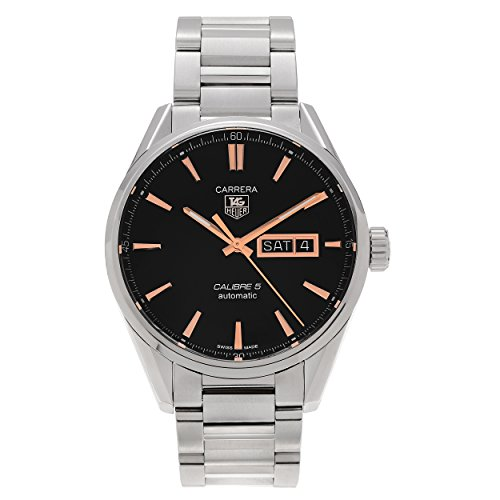 (Tag Heuer Carrera Calibre 5 Black Dial Stainless Steel Mens Watch)