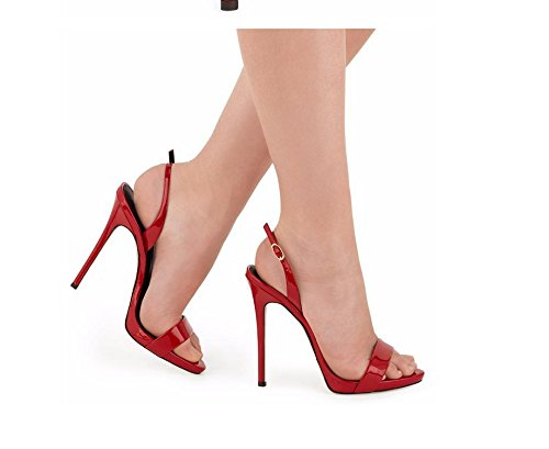 MZG Tacones altos de las mujeres del dedo del pie abierto del tobillo del estilete plataforma de la correa casual sandalias de las bombas Red