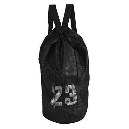 Dioche Mesh Drawstring Backpack, Basketball Football Soccer Sports Training Exercising Mesh Backpack Shoulder Drawstring Bag(Black)