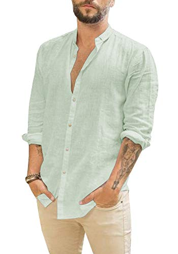 Mens Linen Button Up Shirts Casual Long Sleeve Loose Fit Beach - Shirt Mens Plain Linen