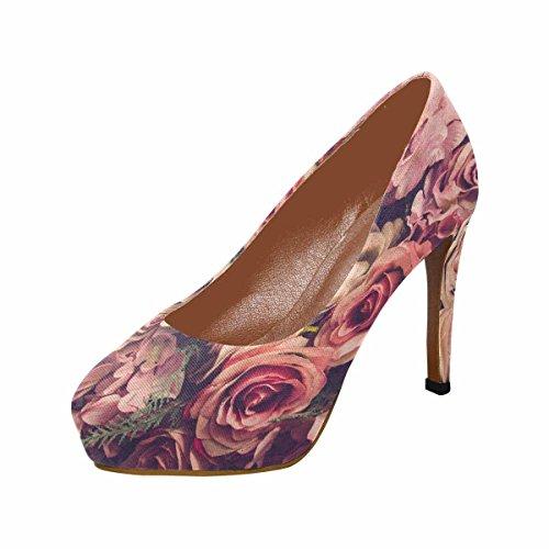 Piattaforma Di Scarpe Con Plateau Tacco Alto Di Grande Interesse Moda Femminile Rosa Rose