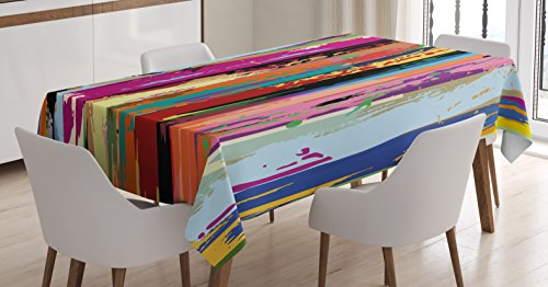 Ambesonne Abstract Tablecloth, Multicolored Expressionist Work of Art Vibrant Rainbow Design Tainted Pattern, Dining Room Kitchen Rectangular Table Cover, 60 W X 90 L inches, Multicolor -