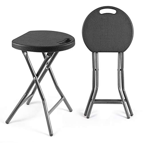 TAVR Portable Folding Stool 18.1 inch Set of 2 Heavy Duty Fold up Stool Metal and Plastic Foldable Stool for Adults Kitchen Garden Bathroom Collapsible Round Stool,300lbs Capacity,Black,CH1001 (Bar Stool On Sitting)
