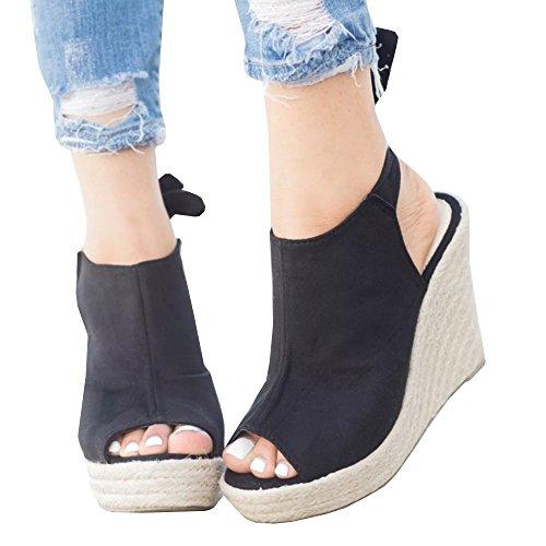 Syktkmx Womens Espadrille Platform Wedge Heel Peep Toe Ankle Strap Slingback Suede Sandals - Leather Espadrille Platform Wedges