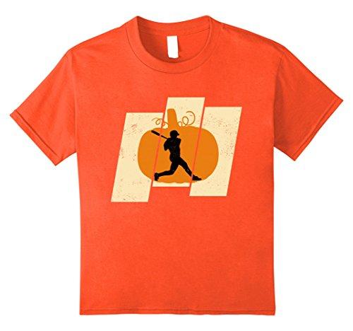 Kids Pumpkin Softball Sports Lovers Halloween T-Shirt 12 Orange - Softball Player Costumes