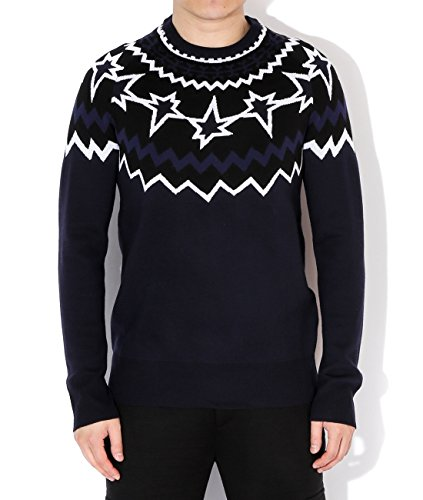 neil-barrett-mens-geometric-star-pattern-wool-sweater-m-navy