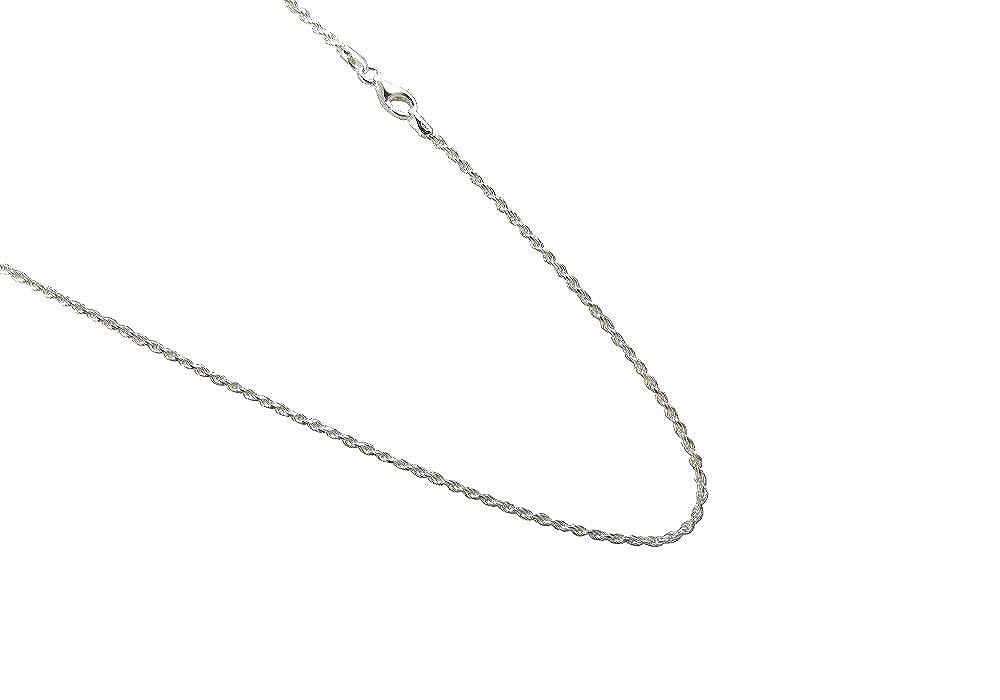 JOSCO 1.5mm Sterling Silver Diamond Cut Rope Chain .925 Italian Necklace 14,16,18,20,22,24,30 inches