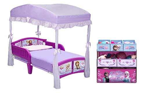 Delta Children Plastic Toddler Bed, Disney Frozen And Canopy for Toddler Bed and Toy Organizer