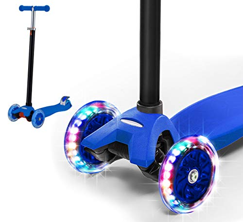 Rugged Racers Blue Kick Scooter for Boys & Girls 3 Wheel Scooter, Adjustable Kick Scooter for Kids with PU LED Light Up Wheels, Step Brake, Lean 2 Turn, Ride on Toys for Children 6 Year Plus