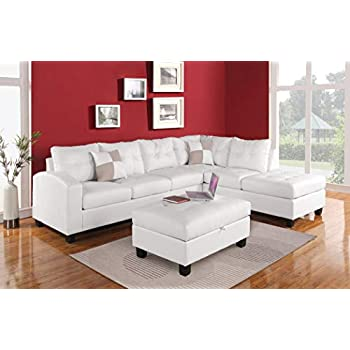 Amazon Com Darby Sectional Sofa With Wide Chaise White