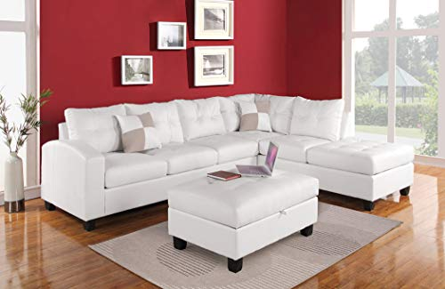 ACME Kiva White Bonded Leather Reversible Sectional Sofa wit